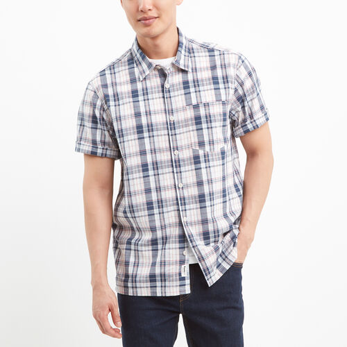 Roots-Winter Sale Tops-Tofino Madras Shirt-Cascade Blue-A