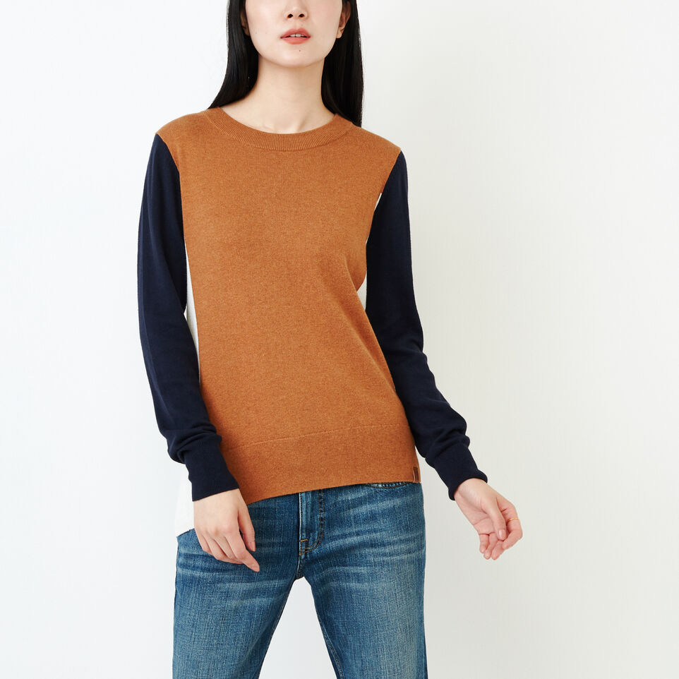 Roots-Women Categories-Colour Blocked Sweater-Brown Sugar-A