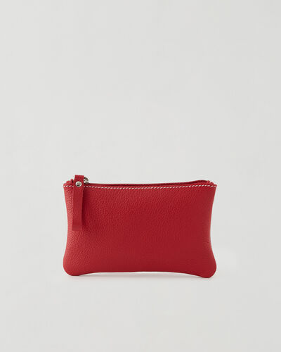 Roots-Leather New Arrivals-Medium Zip Pouch Cervino-Lipstick Red-A