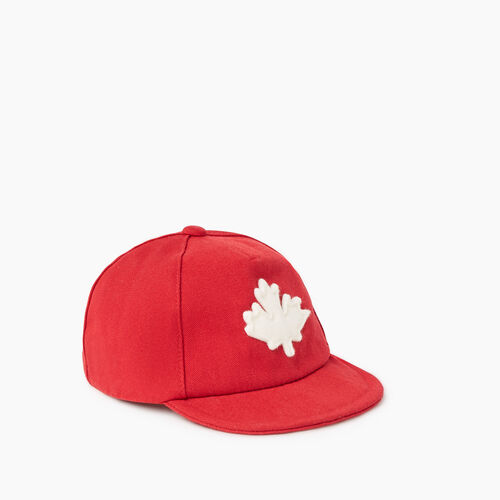 Roots-Kids Accessories-Baby Canada Leaf Baseball Cap-Red-A