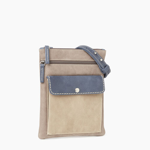 Roots-Leather Crossbody-Liberty Pouch - Colour Block-Navy-A
