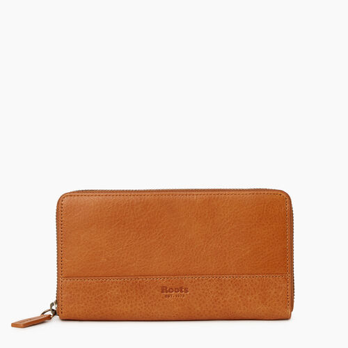 Roots-Leather Our Favourite New Arrivals-Zip Around Wallet-Tan-A