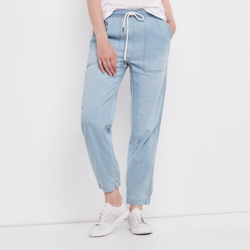Roots-Women Bottoms-Elena Pant Chambray-Chambray Blue-A