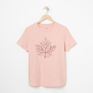 Roots-Women Graphic T-shirts-Womens Alexa Embroidered T-shirt-Mellow Rose-A