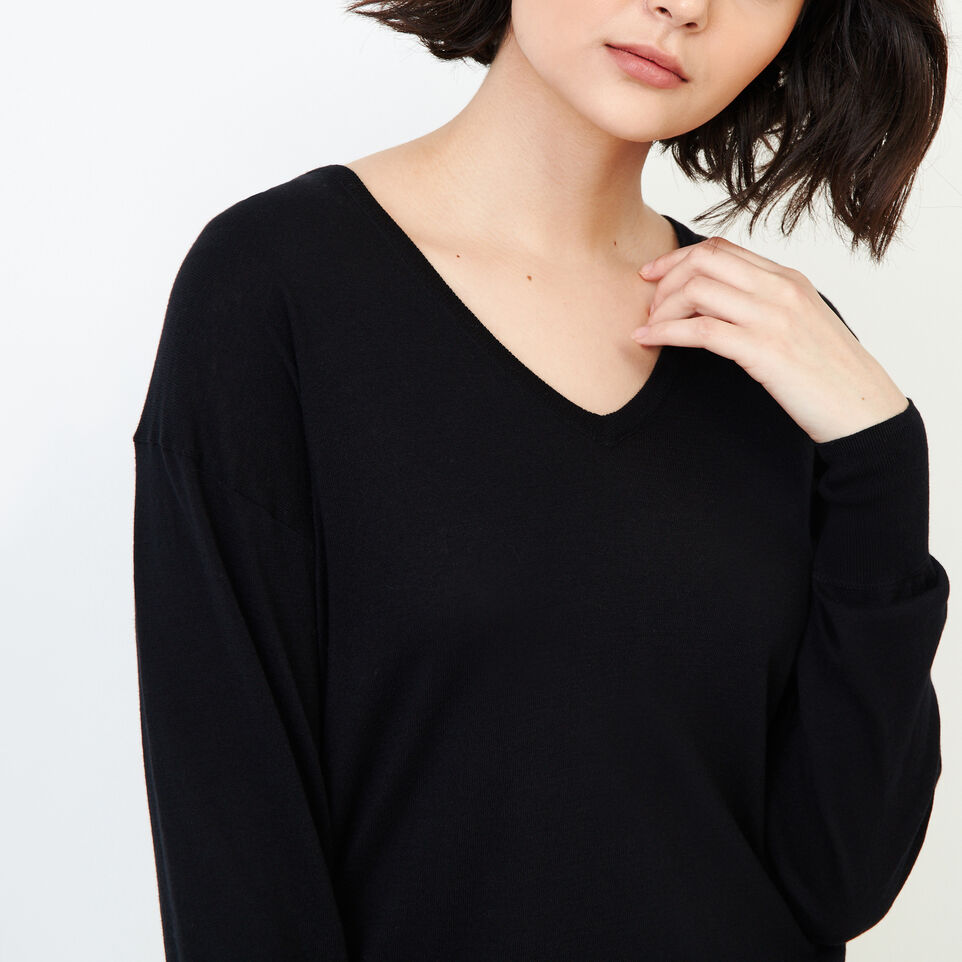 Roots-Women Our Favourite New Arrivals-Fauna V Neck Sweater-Black-E