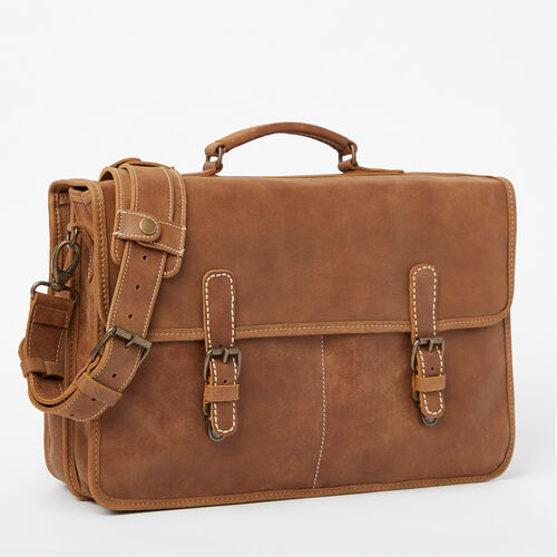 Roots-Men Bags-The Original Briefcase Tribe-Natural-A
