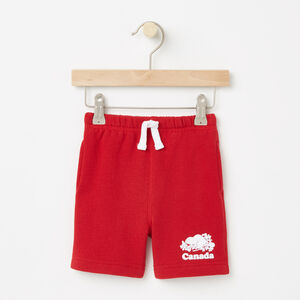 Roots-Kids Sweats-Baby Canada Original Athletic Shorts-Sage Red-A