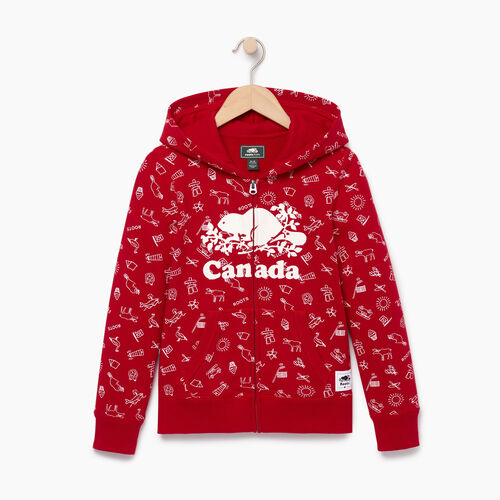 Roots-Kids Tops-Girls Canada Aop Full Zip Hoody-Sage Red-A