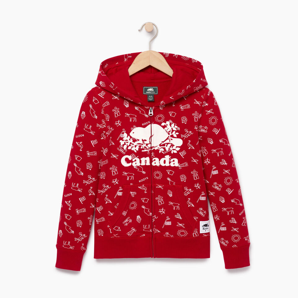 Roots-Kids Our Favourite New Arrivals-Girls Canada Aop Full Zip Hoody-Sage Red-A