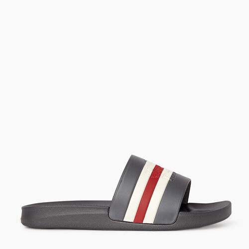 Roots-Footwear New Arrivals-Mens Long Point Smoke Lake Slide-Grey-A