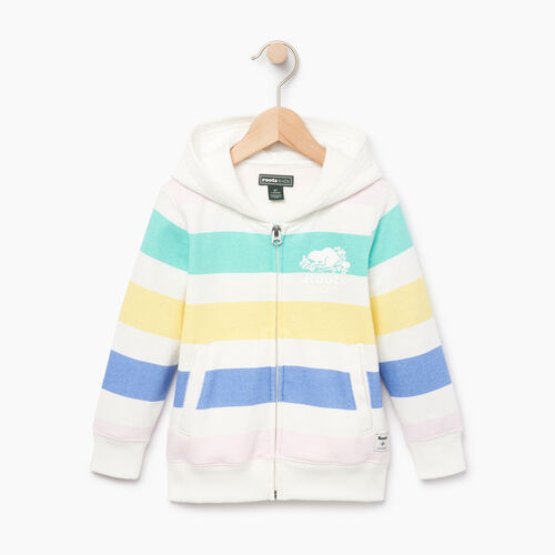 Roots-Kids Toddler Girls-Toddler Ombre Stripe Full Zip Hoody-Ivory-A