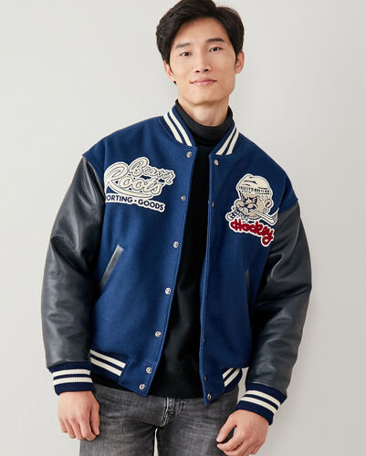Roots-Leather Award Jackets-Beaver Hockey Award Jacket-Navy-A