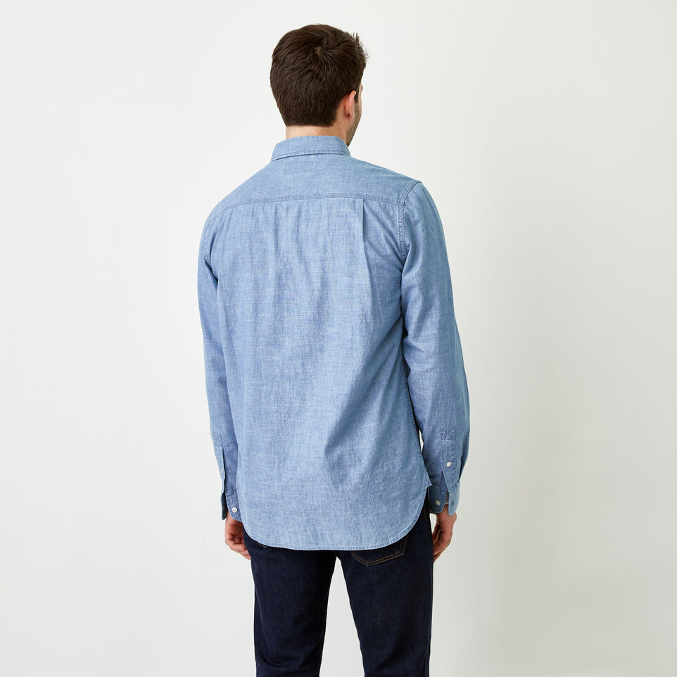 Roots-Men Our Favourite New Arrivals-Saltspring Work Shirt-Chambray Blue-D