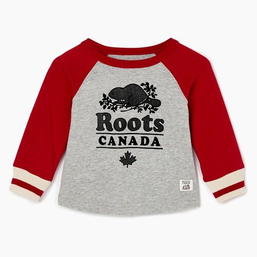 Roots-Kids Baby Boy-Baby Cabin Baseball T-shirt-Cabin Red-A