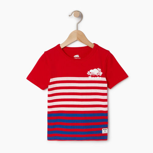 Roots-Kids T-shirts-Toddler Cooper Beach Stripe T-shirt-Racing Red-A