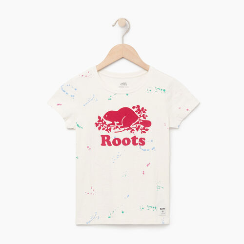 Roots-Clearance Kids-Girls Splatter Aop T-shirt-Cannoli Cream-A