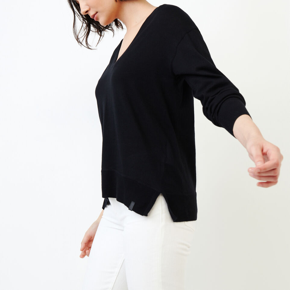 Roots-Women Our Favourite New Arrivals-Fauna V Neck Sweater-Black-C