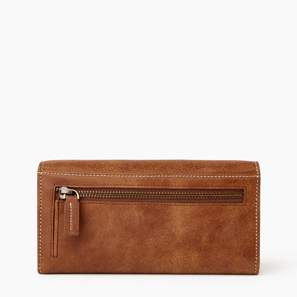 Roots-Women Wallets-Large Chequebook Clutch Tribe-Natural-B