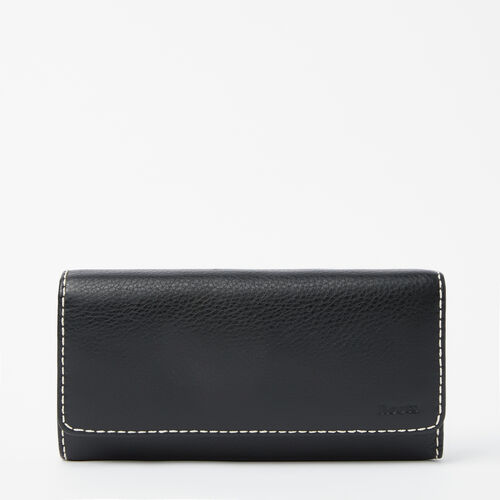 Roots-Leather Women's Wallets-Large Chequebook Clutch-Black-A