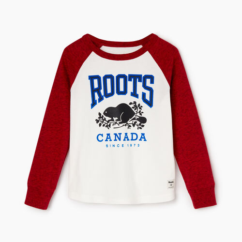 Roots-Kids Tops-Toddler Classic Raglan T-shirt-Sage Red Pepper-A