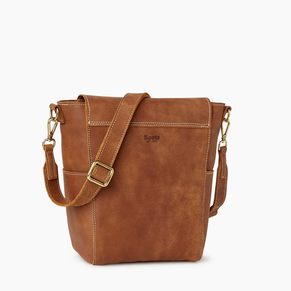 Roots-Leather Our Favourite New Arrivals-Small Journey Bag-Natural-C