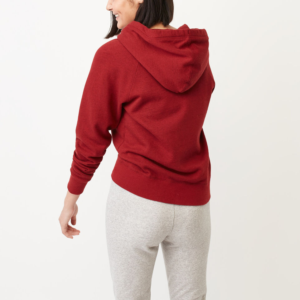 Roots-Clearance Women-Roots Vault Full Zip Hoody-Cabin Red Mix-D