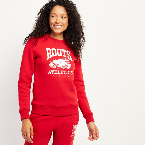 Roots-Gifts Holiday X Arielle & Leah-RBA Crew Sweatshirt-Cabin Red-A