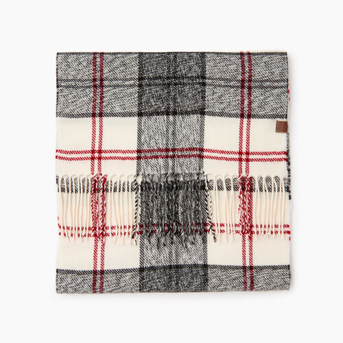 Roots-Men Our Favourite New Arrivals-Smoke Lake Plaid Scarf-Birch White-A