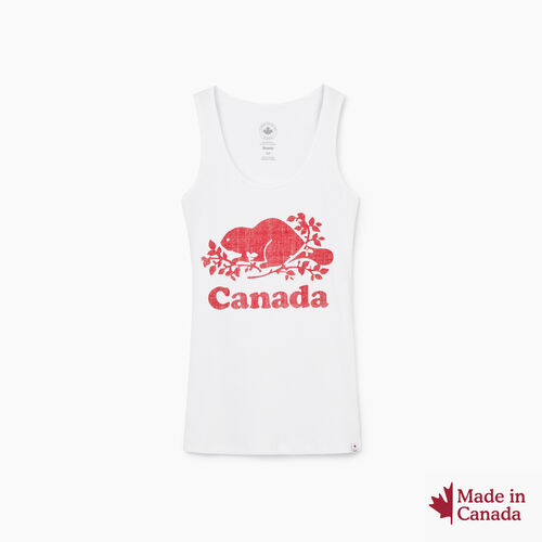 Roots-New For August Canada Collection By Roots™-Cooper Canada Rib Tank-Crisp White-A