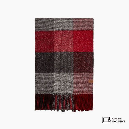 Roots-New For November Men-Tricoloured Plaid Scarf-Cabin Red-A