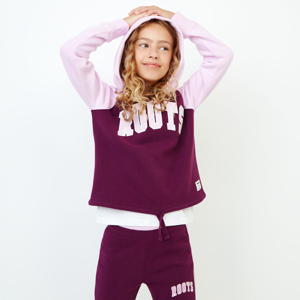 Roots-Sale Kids-Girls 2.0 Colour block Raglan Hoody-Pickled Beet-A