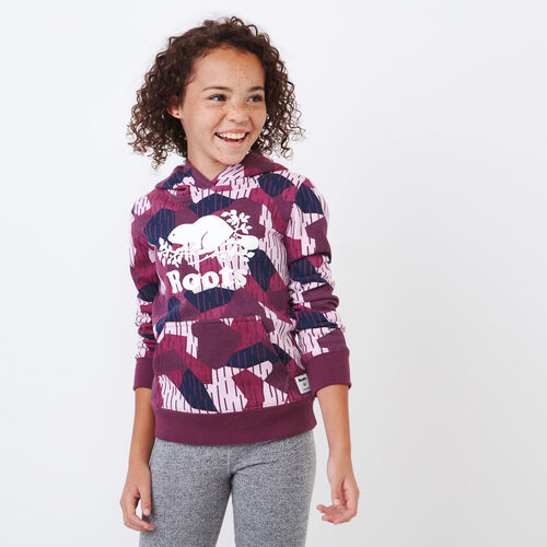 Roots-Kids Tops-Girls Camo Kanga Hoody-Camo Print-A