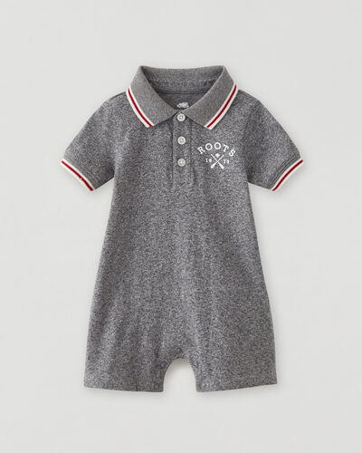 Roots-Kids Baby-Baby Cabin Polo Romper-Salt & Pepper-A