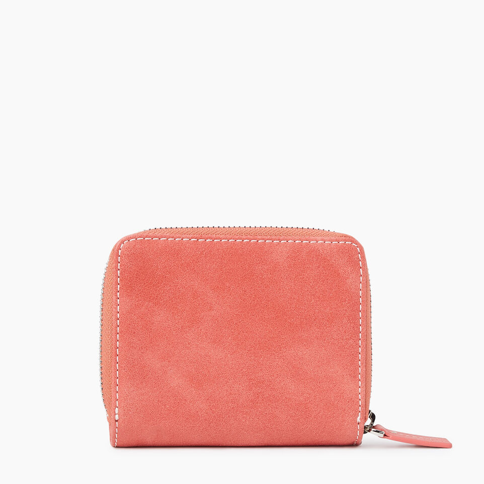 Roots-Leather New Arrivals-Small Zip Wallet Tribe-Coral-B