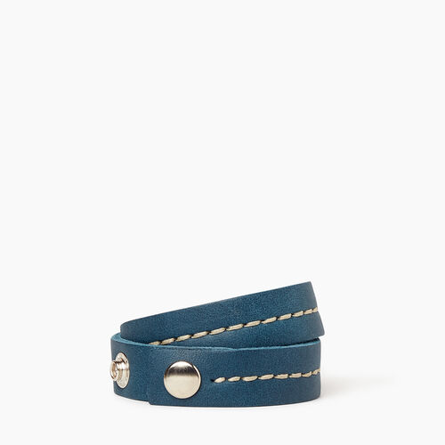 Roots-Leather Collections-Double Leather Bracelet-Teal Green-A