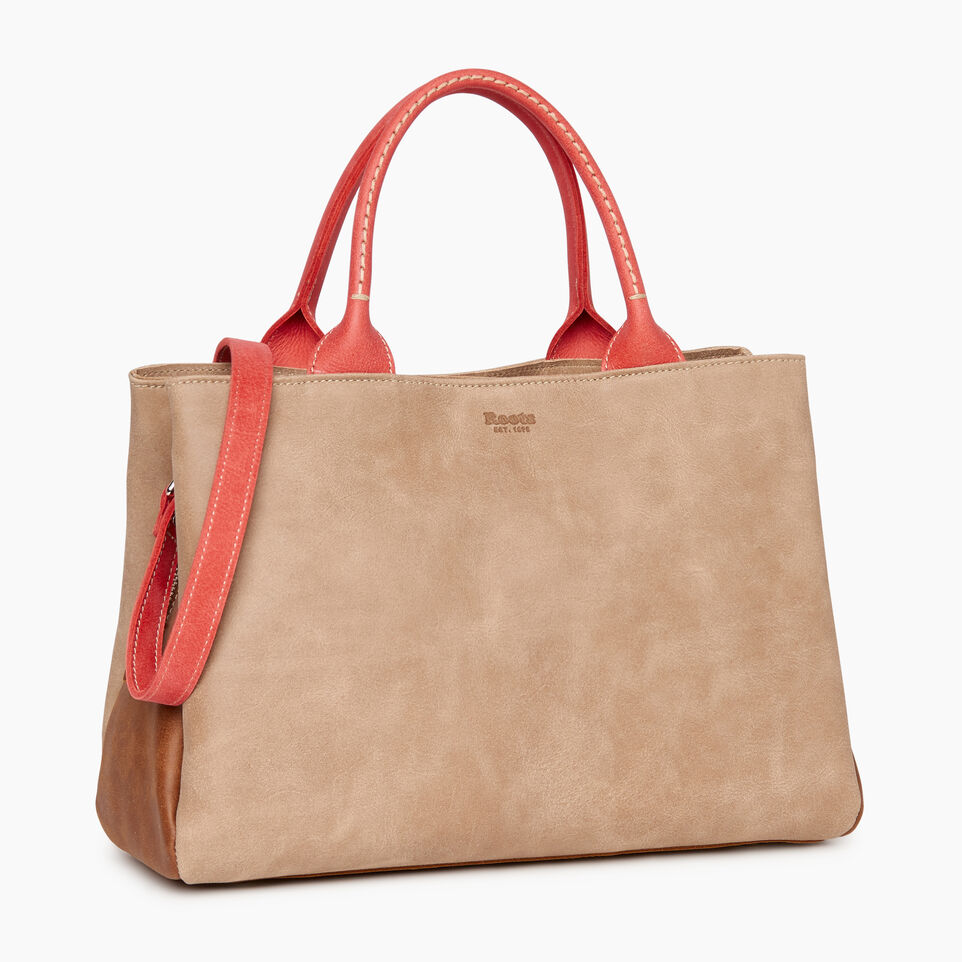 Roots-Leather  Handcrafted By Us Our Favourite New Arrivals-Mont Royal Bag - Colour Block-Coral-A