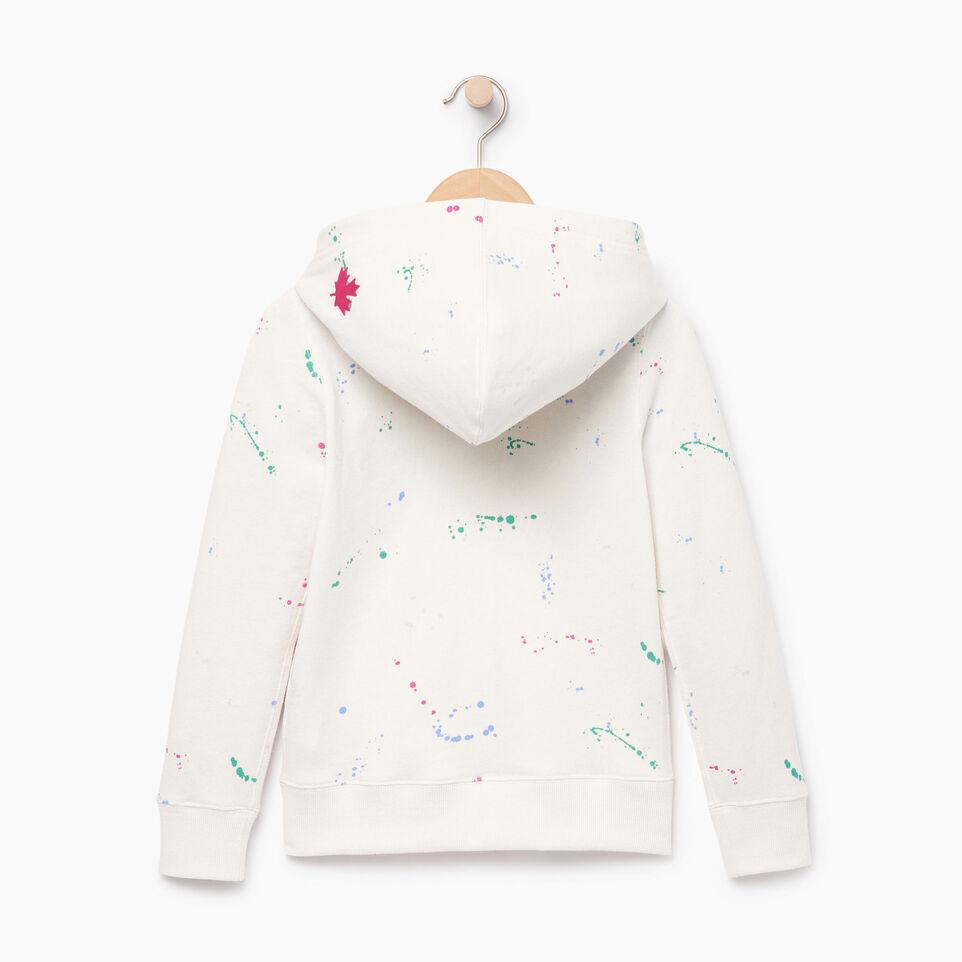 Roots-Clearance Kids-Girls Splatter Full Zip Hoody-Cannoli Cream-B