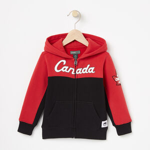 Roots-Kids Canada Collection-Toddler Heritage Script Full Zip Hoody-Sage Red-A