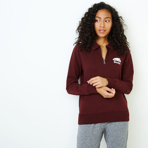 Roots-Women Categories-Original Zip Polo-Crimson-A