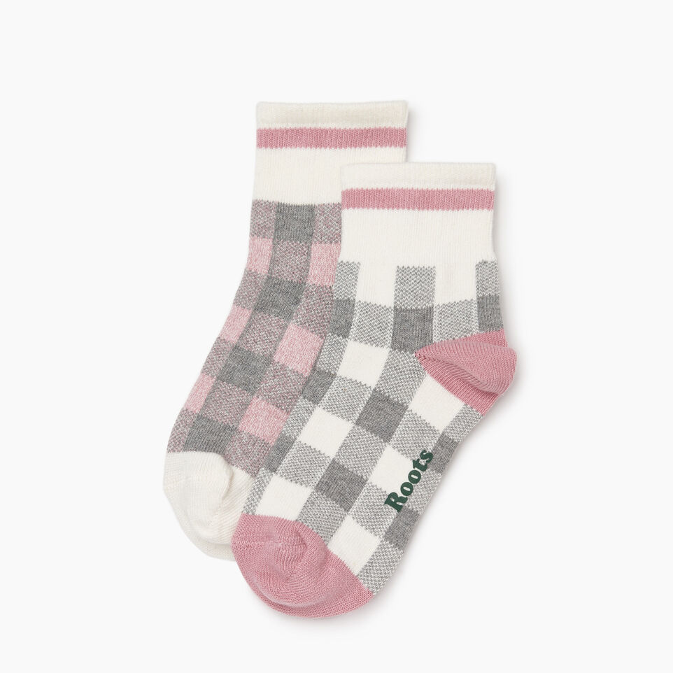Roots-New For December Today Only: 40% Off Park Plaid Collection-Park Plaid Ankle Sock 2 Pack-Pink Mix-B