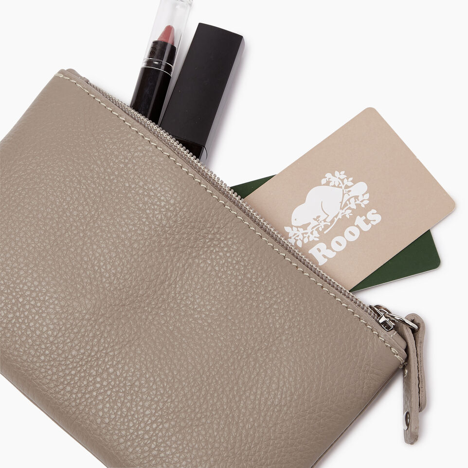 Roots-Leather  Handcrafted By Us Our Favourite New Arrivals-Medium Zip Pouch-Flint Grey-B