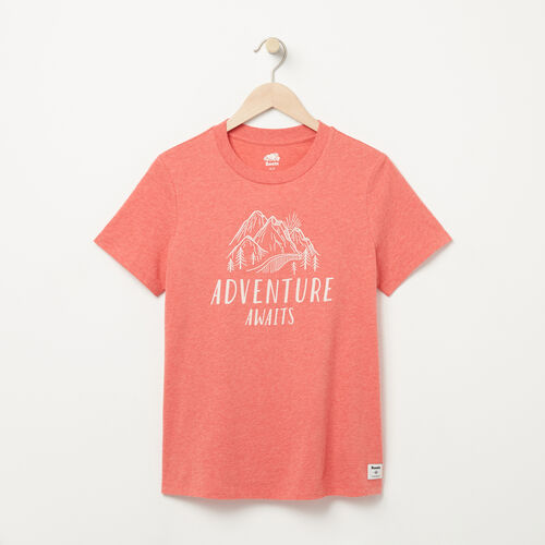 Roots-Women Graphic T-shirts-Womens Wild Adventure T-shirt-Spiced Coral Mix-A