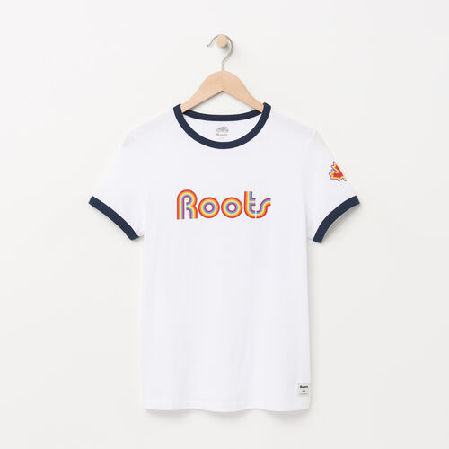Roots-Women Graphic T-shirts-Womens Rainbow Roots T-shirt-White-A