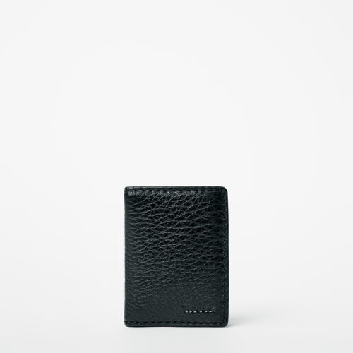 Roots-Leather  Handcrafted By Us Wallets-Card Case With Id Prince-Black-A