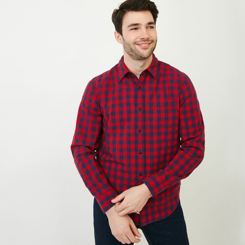 Roots-New For June Plaids-White Pine Long Sleeve Shirt-Sage Red-A