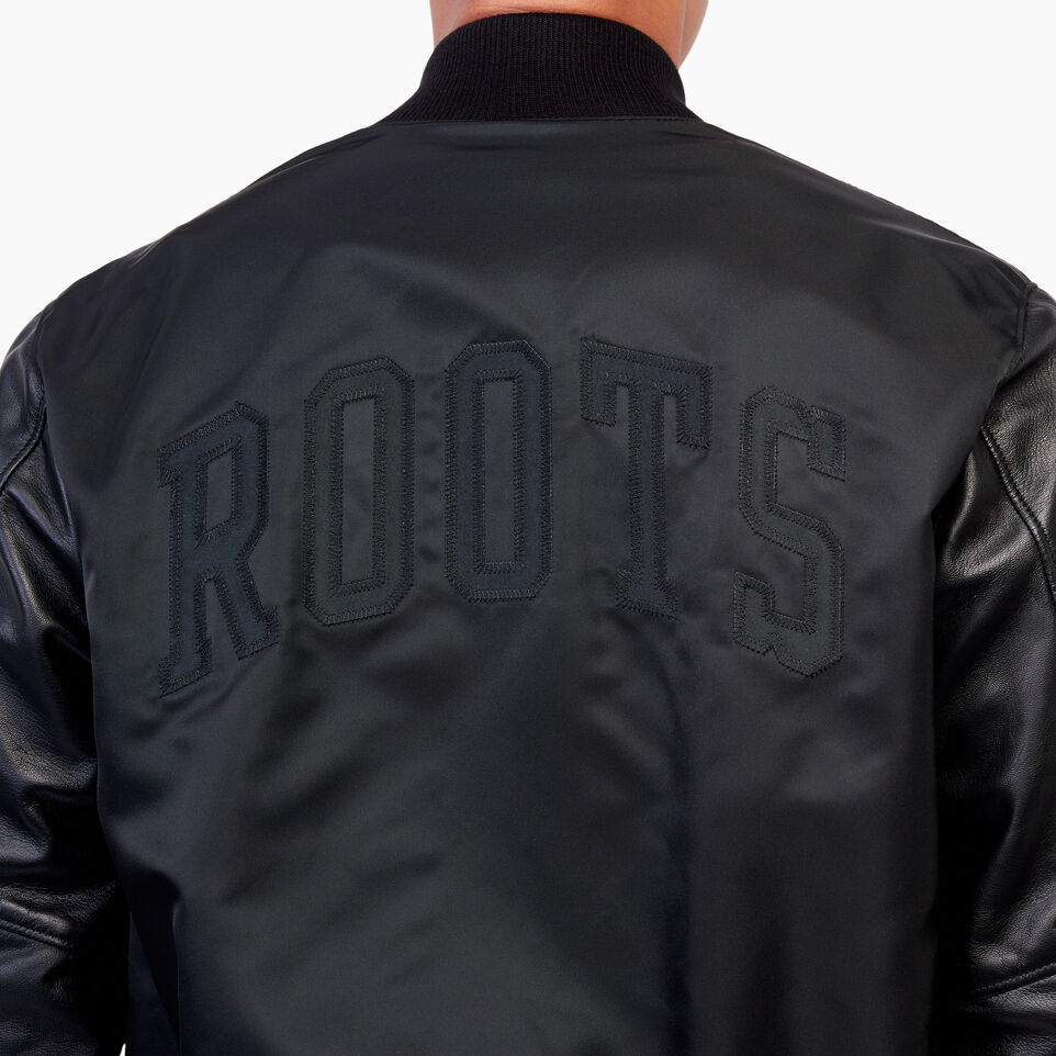Roots-Men Clothing-Retro Varsity Jacket-Black-E