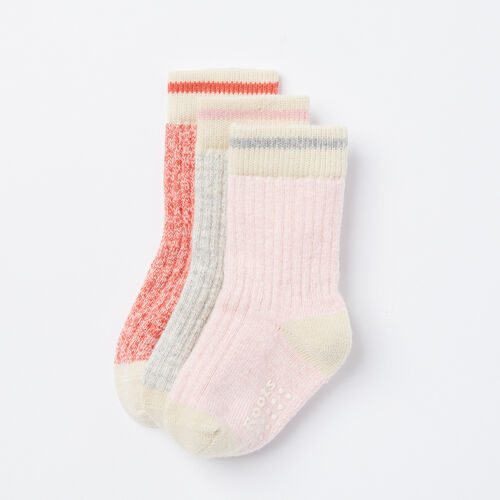 Roots-Kids Accessories-Toddler Cabin Sock 3 Pack-Shell Pink-A