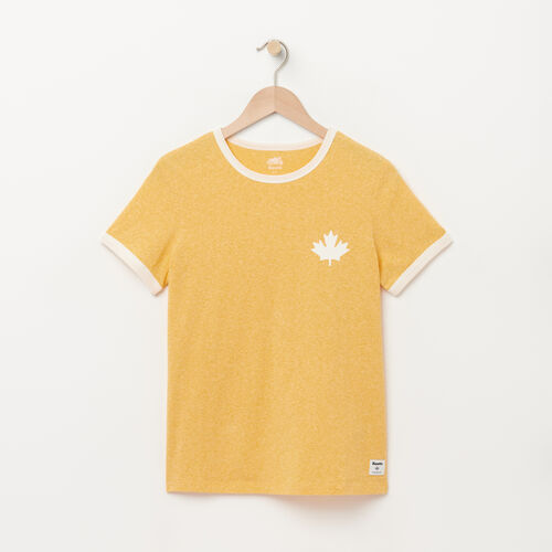 Roots-Women Graphic T-shirts-Womens Cabin Ringer T-shirt-Tuscan Yellow Mix-A