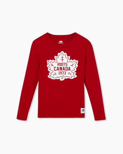 Roots-Sale Boys-Boy Canada T-shirt-Sage Red-A