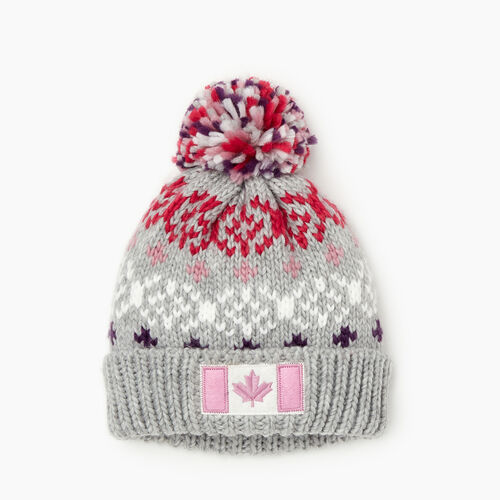 Roots-Kids Girls-Kids Retro Fair Isle Toque-Grey Mix-A
